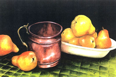 "Anne Heather Moore, Copper Jug with Pears Watercolour - 11""x14"" - SOLD"